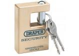 Draper Expert Close Shackle Solid Brass Padlock with Hardened Steel Shackle, 2 Keys, 63mm