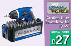 Storm Force® Cordless Li-ion Screwdriver Kit (3.6V) – Now Only £27.00